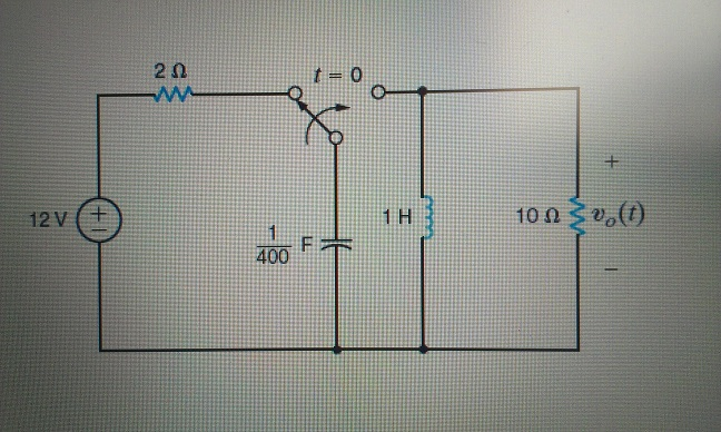 Find v0(18 ms) in the circuit in the Figure.