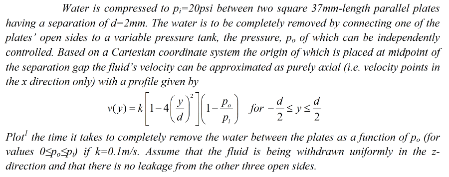 Water is compressed to pi=20psi between two square