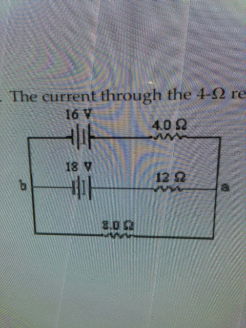 The current through the 4-W resistor is a. 0.5A b.