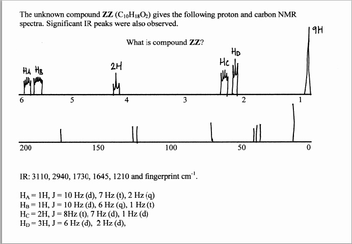 The unknown compound ZZ (C10H18O2) gives the follo