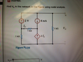 Find Vo In the network in the Figure P3.39 using n