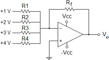 Image for Determine output voltage Vo if R1 = R2 = R3 = R4 = Rf = 100 kOhms and Vcc = 15 V Ok, I am reposting thsi que