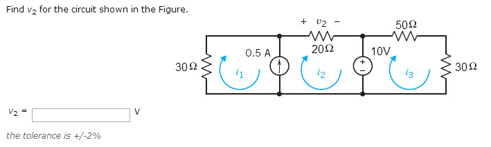 Find v2 for the circuit shown in the Figure. v2 =