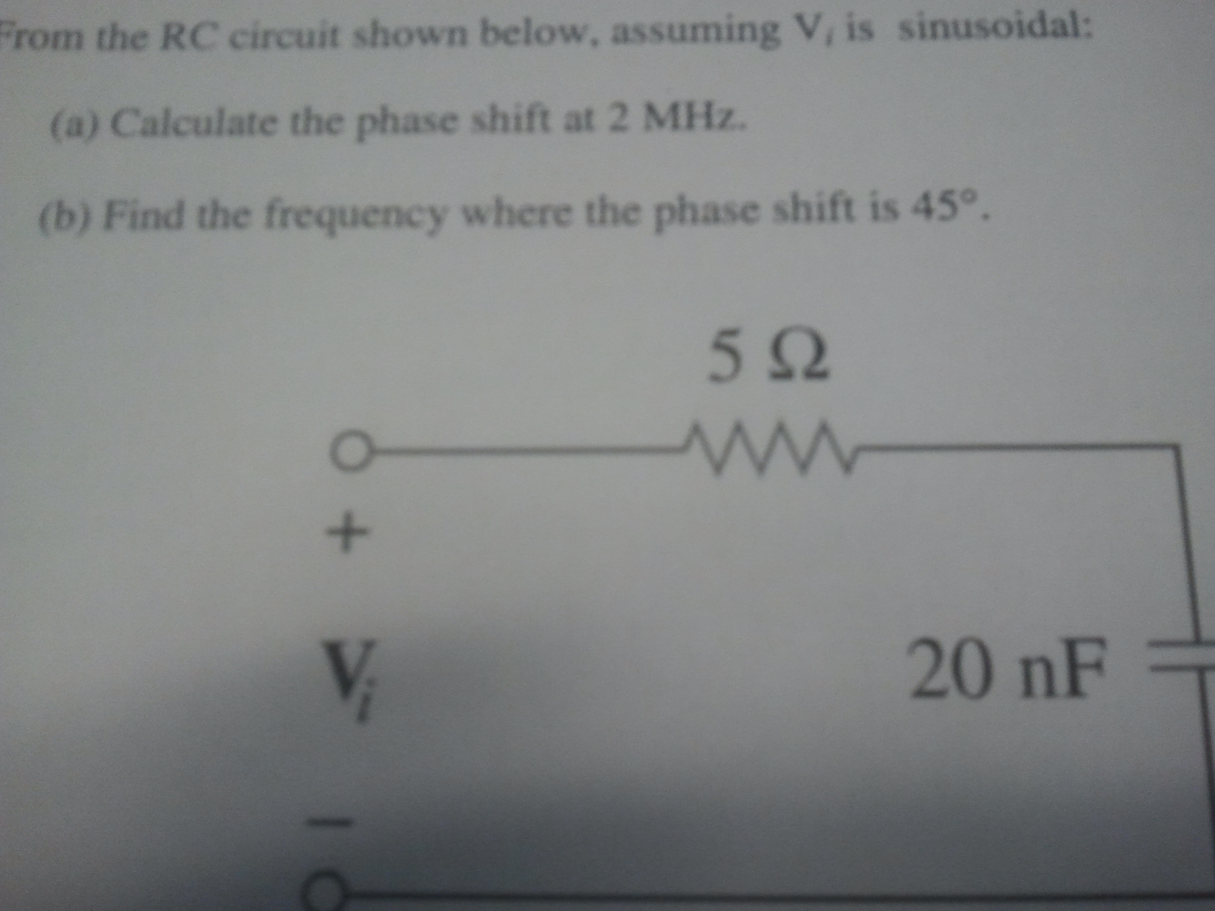 From the RC circuit shown below, assuming V, is si