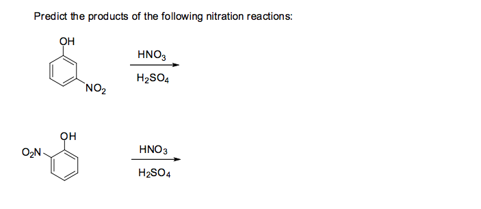 Predict the products of the following nitration re