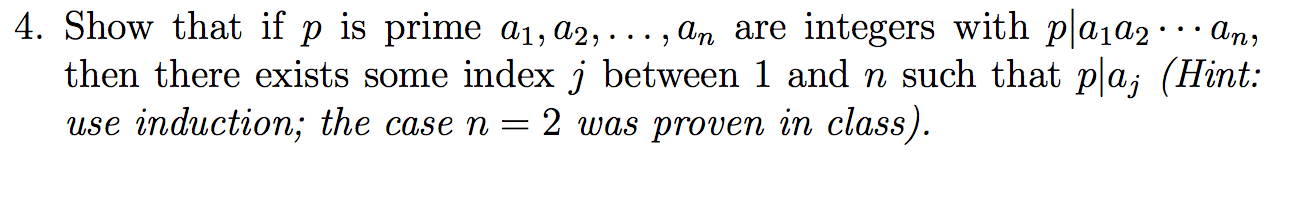Show that if p is prime a1, a2,..., an are integer