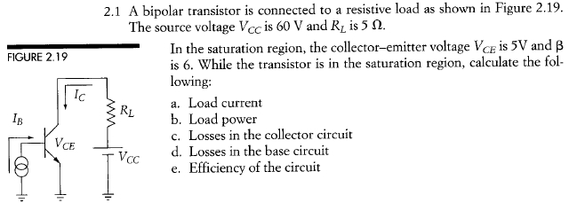 A bipolar transistor is connected to a resistive l