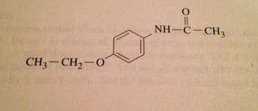 Phenacetin has the structure shown. Write an equat