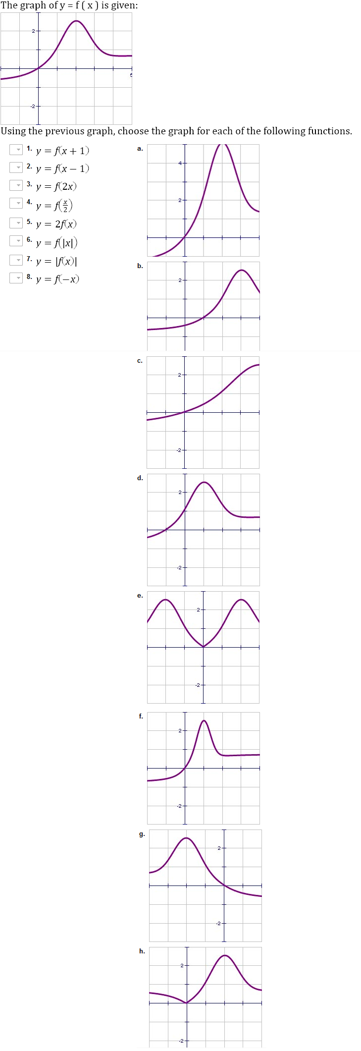The graph of y = f(x) is given: Using the previou