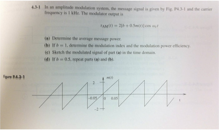 In an amplitude modulation system, the message sig