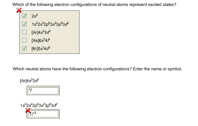 Which of the following electron configurations of