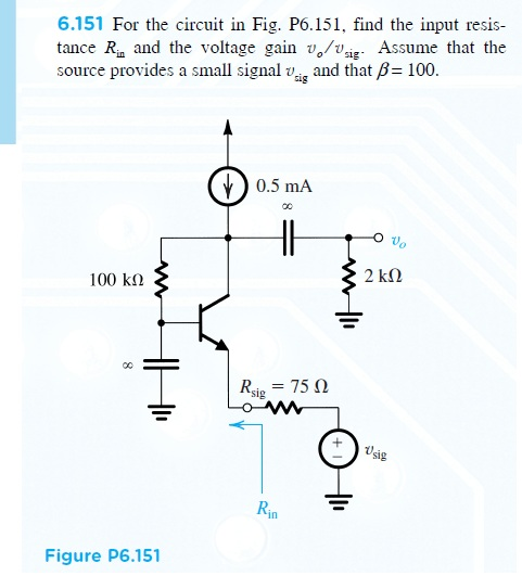 For the circuit in Fig. P6.151, find the input res