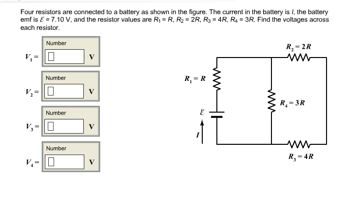 Four resistors are connected to a battery as shown