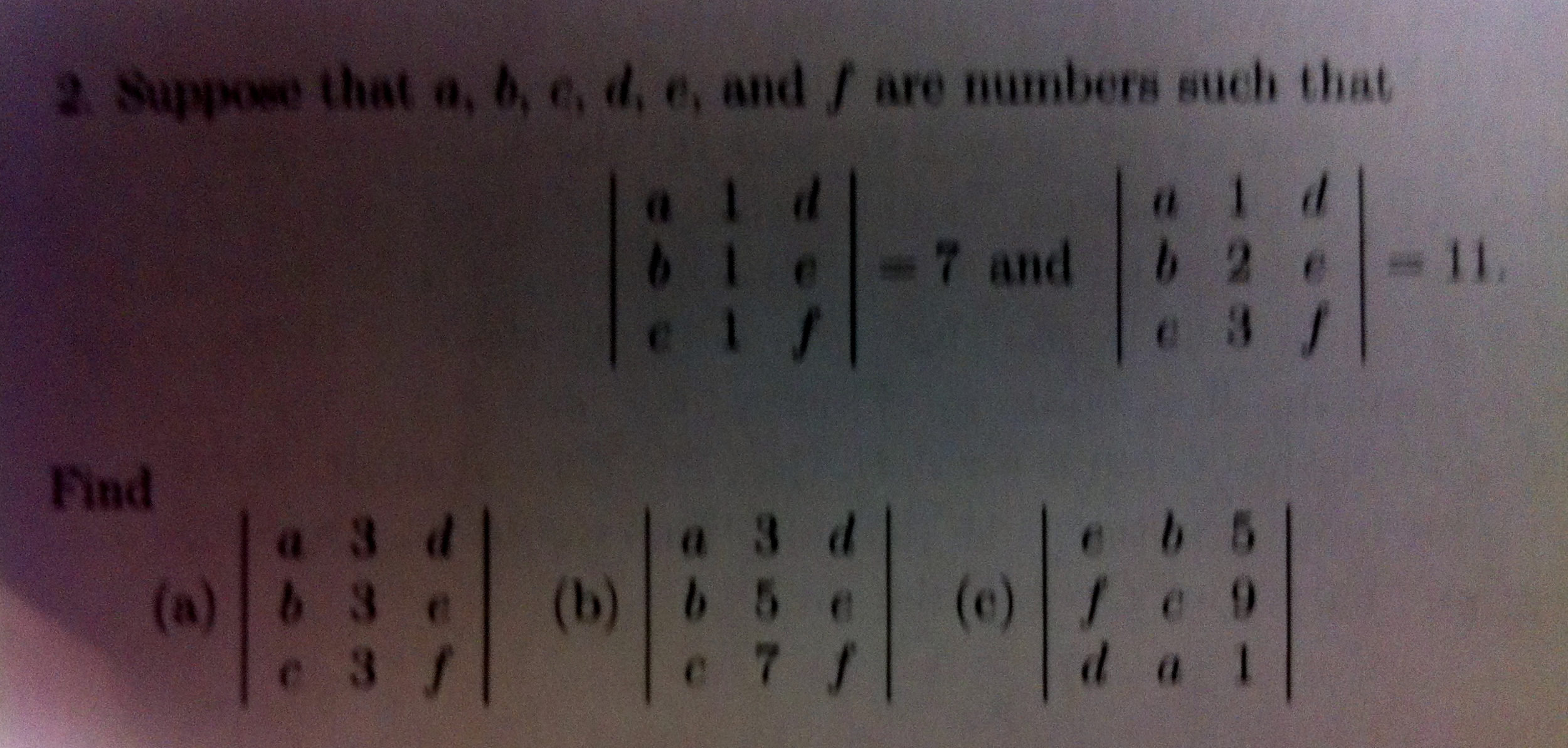 Suppose that a, b, c, d, e, and f are numbers such