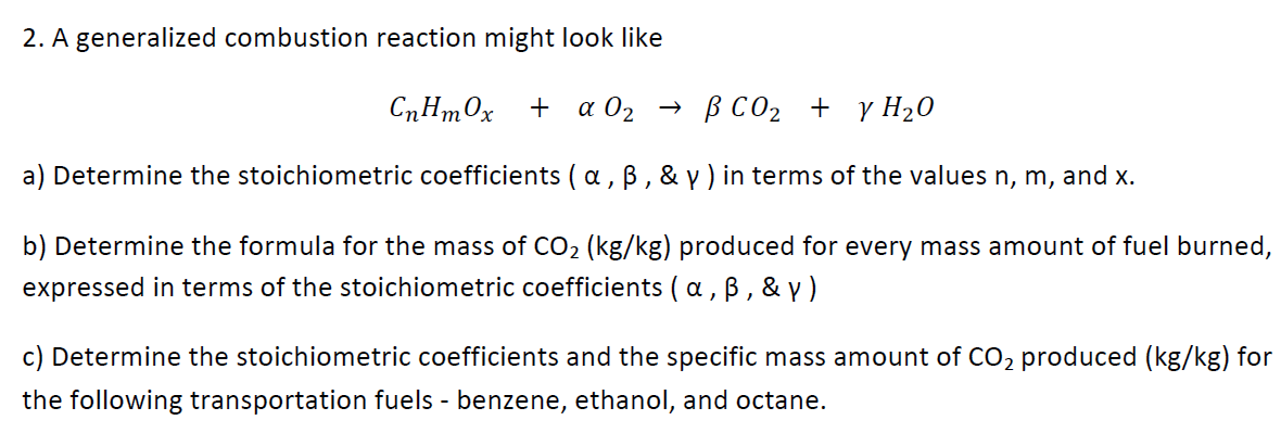 A generalized combustion reaction might look like