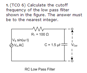 Calculate the cutoff frequency of the low pass fil