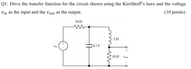 Drive the transfer function for the circuit shown