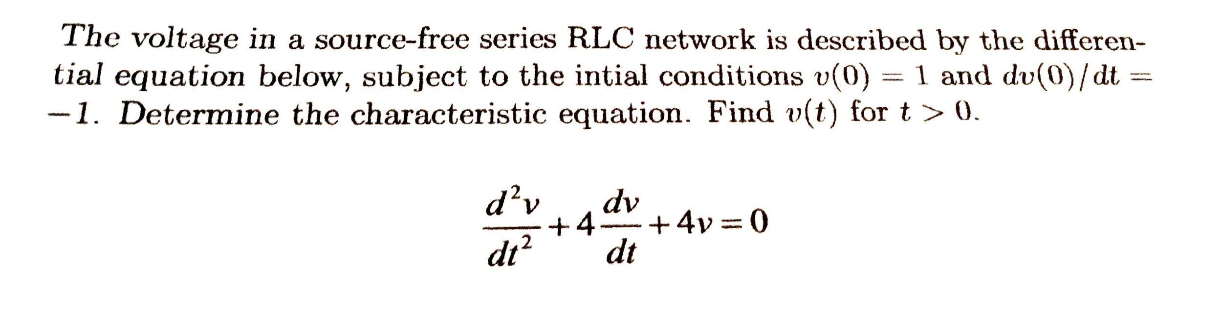 The voltage in a source-free series RLC network is