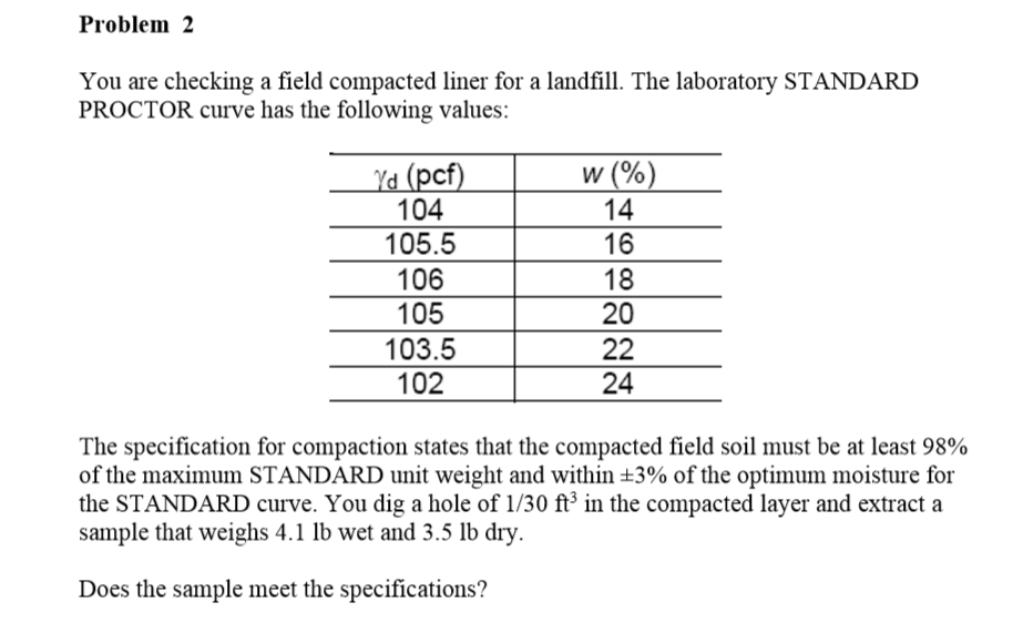 Solved problem2 you are checking a field compacted liner for 98 soil compaction