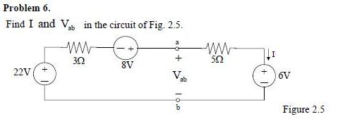 Find I and V ab in the circuit of Fig. 2.5.