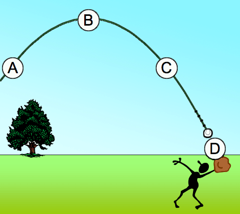 Positions B and D are 9.5 meters and 2.1 meters ab