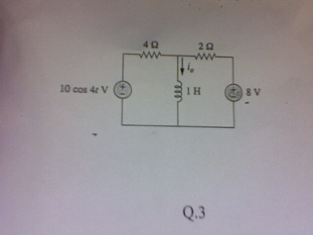 For the circuit shown, determine the steady state