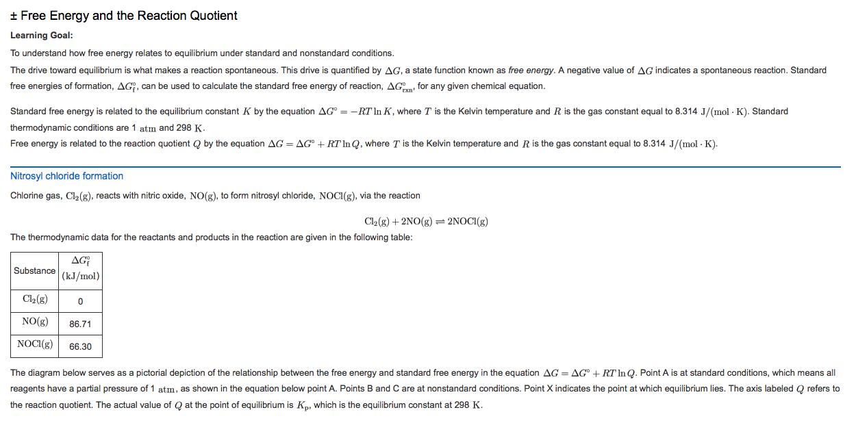 Plusminus Free Energy And The Reaction Quotient Le...   Chegg.com