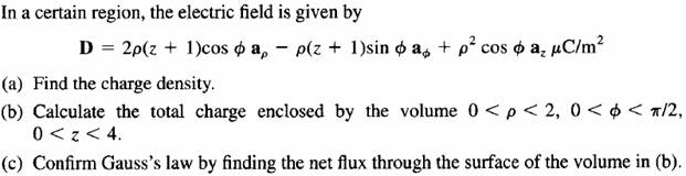 In a certain region, the electric field is given b