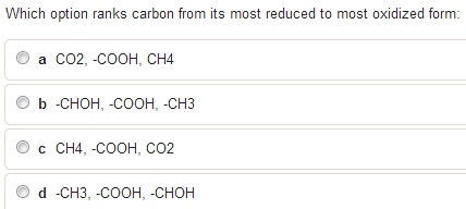 Which option ranks carbon from its most reduced to