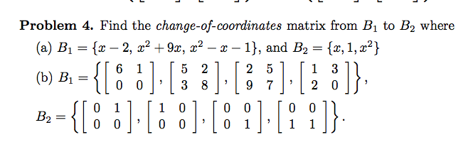 Find the change-of-coordinates matrix from B1 to B