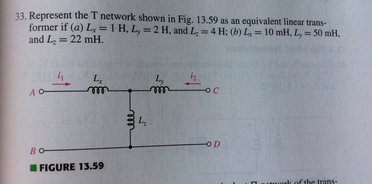 Represent the T network shown in Fig. 13.59 as an