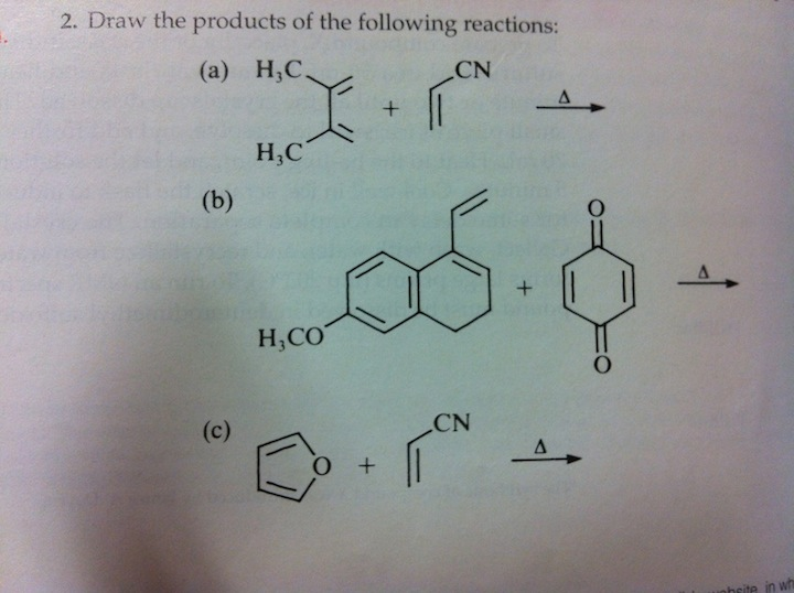 Draw the products of the following reactions: