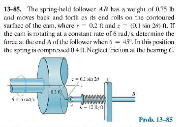 The spring-held follower AB has a weight of 0.75 l