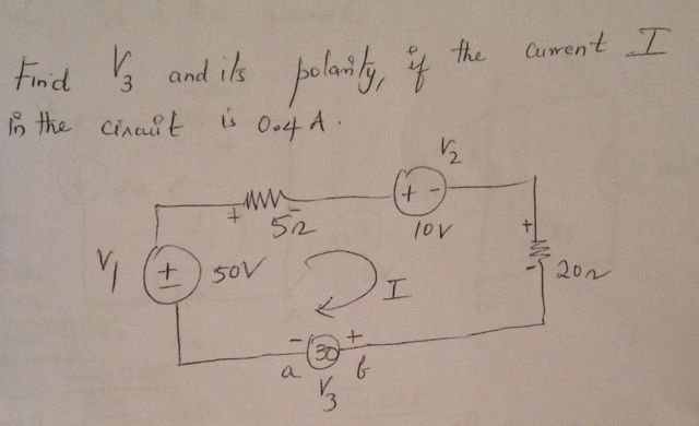 Find V3 and its polarity, if the current I in the