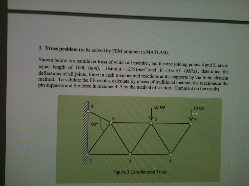 Truss problem (to be solved by FEM program in MATL