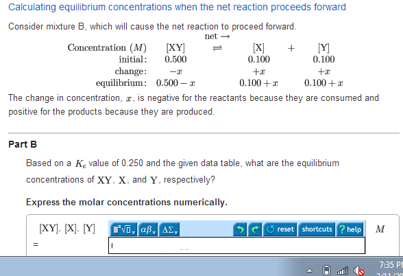 Calculating equilibrium concentrations when the ne