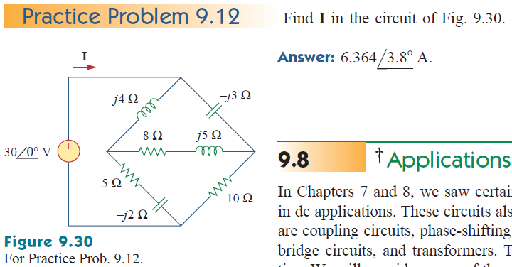 Find I in the circuit of Fig. 9.30. Answer: 6.364