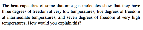 The heat capacities of some diatomic gas molecules