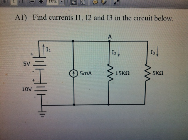 Find currents I1, I2 and I3 in the circuit below