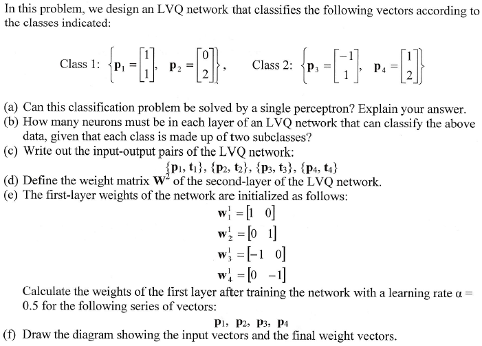 In this problem, we design an LVQ network that cla