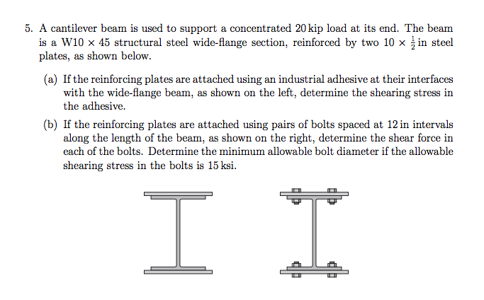 A cantilever beam is used to support a concentrate