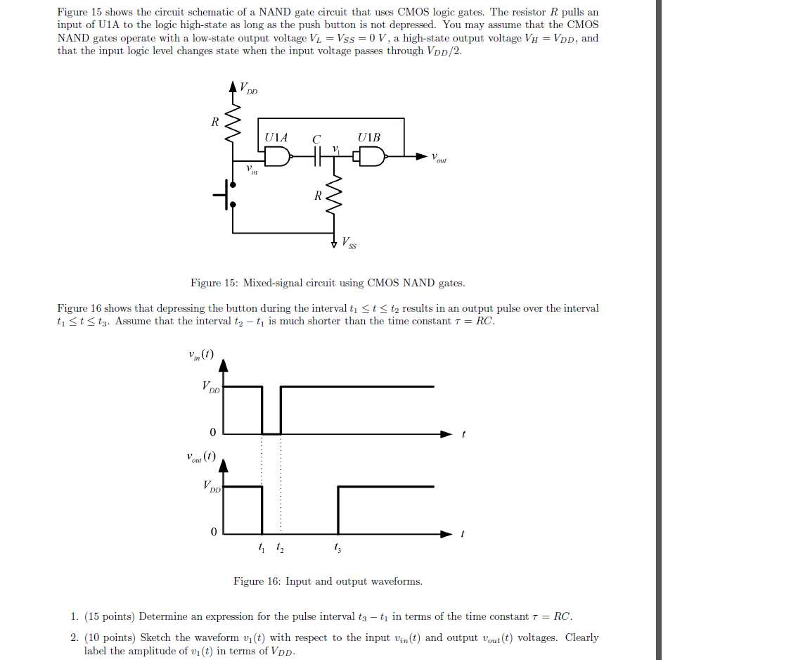 Figure 15 shows the circuit schematic of a nand ga for Circuit nand