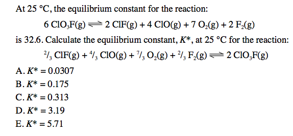 At 25 degreeC, the equilibrium constant for the re