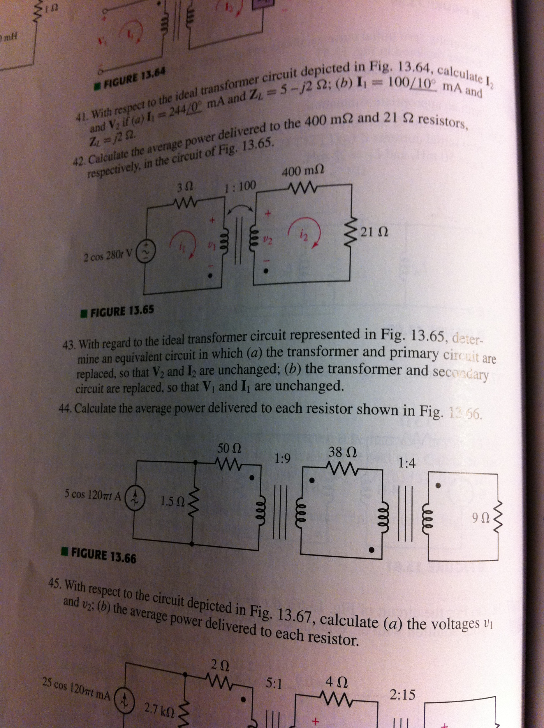 With respect to the ideal transformer circuit depi