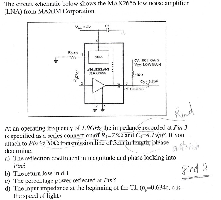 The circuit schematic below shows the MAX2656 low