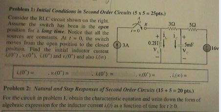 Initial Conditions in Second Order Circuits Consi