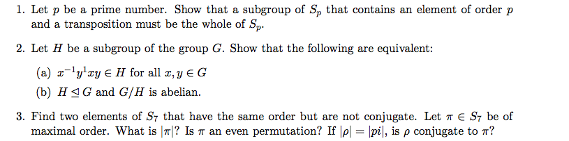 Let p be a prime number. Show that a subgroup of S