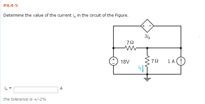 Determine the value of the current ix in the circu