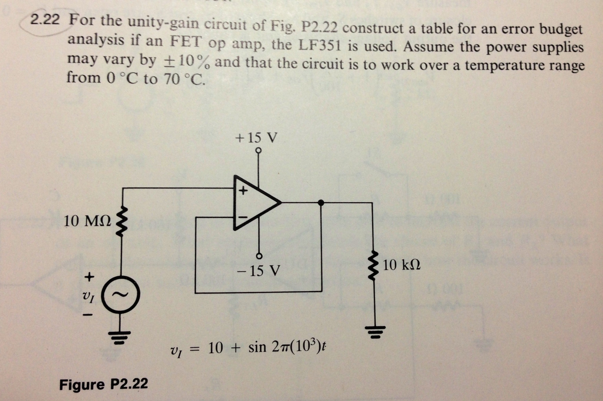 For the unity-gain circuit of Fig. P2. 22 construc
