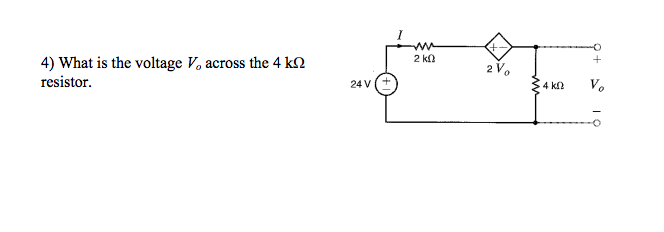 What is the voltage Vo across the 4 k ohm resistor